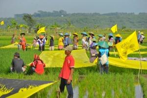 "Masyarakat Batang membentangkan tulisan ""Food Not Coal"" sebagai aksi bersama Greenpeace menolak rencana pembangunan pembangkit listrik bertenaga batubara di  Desa Ponowareng, Batang, Jawa Tengah, Selasa (23/9)."