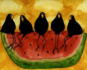 hubbs-art-folk-prints-whimsical-funny-bird-crow-blackbirds-picnic-watermelon-debi-hubbs