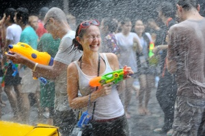 The Songkran festival in Bangkok.